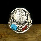 Sterling Silver Men's Turquoise & Coral Bear Head Ring - Select Size --- R87 z