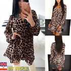 Women Party Leopard Print Plunge Wrap Dress Long Sleeve Clubwear Mini Dress12-20