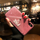 PINK Bling Embroidery Glitter Wallet Case Cover For iPhone XS Max Sumsung Note 9