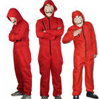 Salvador Dali La Casa De Papel Money Heist Red Jumpsuit Mask Costume Cosplay HOT