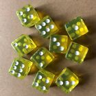 10 Pcs Six Sided D6 Transparent 16mm FOR RPG DICE- Square Cube Dice Round Corner