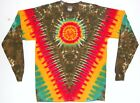 Adult L/S 2X 3X 4X TIE DYE Rasta V Sun art Long Sleeve T Shirt plus size reggae