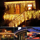 96/960LED Xmas Curtain Icicle Twine Lights Outdoor Party Lamp 110V  Warm White