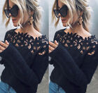 US Women Winter Warm Lace Fluffy Sweater Pullover Knitted Tops Cardigan Sweater