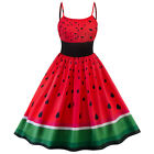 US Womens Retro Sling Rockabilly Watermelon Evening Party Vintage Swing Dress