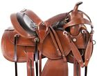Western Trail Saddle 15 16 17 18 Leather Horse Headstall Breast Collar Tack Set