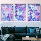 Set of 3 Abstract Navy & Blush Pink Art Prints from Original Textured Paintings