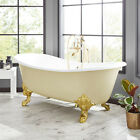 """72"""" Lena Cast Iron Clawfoot Light Yellow Tub with Monarch Imperial Feet"""