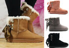 Ladies Womens Flat Warm Winter Ankle Faux Suede Fur Lined Snugg Snow Boots Size