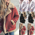Winter Womens Faux Fur Fleece Coat Outwear Warm Lapel Biker Motor Aviator Jacket