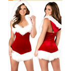 Women's Christmas Costume Cosplay Party Outfit Fancy Dress Santa Claus Cape Sexy