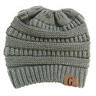 Women Beanietail Messy Bun Ponytail Knitted Beanie Skull Winter Hat Lot