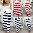 Fashion Womens Stripe Skirt Hight Waist Lace-Up Bodycorn Holiday Maxi Long Dress
