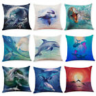 18'' dolphin Print Cotton Linen Pillow Case Throw Cushion Cover Home Decor image
