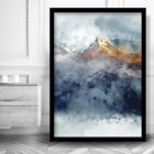 Abstract 3 Navy Yellow Gold Watercolour Mountains Framed Wall Art Print Picture