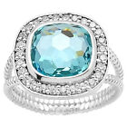 Simulated Aquamarine 925 Sterling Silver Ring Jewelry Size 6-9 DGR1072_A