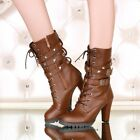 Womens Mid calf Boots Ankle Strap Buckle Lace Up Rivet Studded Block Heels Shoes