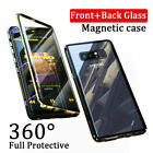 For Samsung Galaxy S8 S9 New Magnetic Absorption Case Tempered Glass Metal Cover