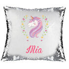 Magic Reveal  Sequin Cushion Cover a PERSONALISED Pillow,  Unicorn Head