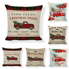 US STOCK Christmas Pillow Case Cotton Linen Sofa Throw Cushion Cover Home Decor image