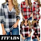 US Women Vintage V-neck Loose Tops Long Sleeve Sexy T-Shirt Plaid Casual Blouse