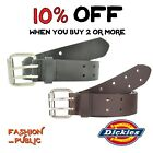 DICKIES BELT MEN'S 2 HOLE DOUBLE PRONG BRIDLE GENUINE LEATHER BLACK BELT WORK