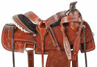 """Roping Saddle 16"""" 15"""" Western Pleasure Trail Roper Ranch Leather Horse Tack Used"""