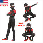 US! Spider-Man: Into the Spider-Verse Miles Morales Kids Cosplay Costume Zentai