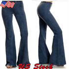 Women Skinny Flare Denim Jeans Retro Bell Bottom Stretch Pants Trousers US M-2XL