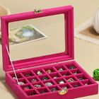 Organizer Case Box Holder Storage Glass Jewelry Earring Velvet Display Ring ND