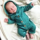 USStock Winter Infant Baby Boy Girl Cotton Hooded Romper Jumpsuit Clothes Outfit