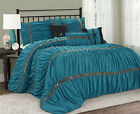 7 Piece CLARAITA Chic Ruched Pleated Teal Comforter Set in Q / K / CK Size image