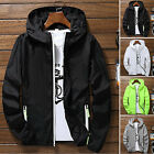US Men Waterproof Windbreaker ZIPPER Jacket hoodie Light Sports Outwear Coat Gym