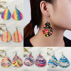 Women Rainbow Floral Glitter Teardrop Leather Earrings Ear Stud Hook Drop Dangle