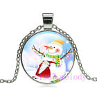 Vintage jewelry Cabochon Glass silver Necklace pendants:Santa Claus snowman
