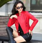 Womens Stand Collar Leather Casual Jackets Slim Fit V Neck Biker Coats Casual X2