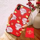 Lucky 3D Pig Chinese Happy New Year Phone Case Cover For iPhone 6 7 8P XS MAX XR