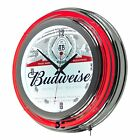 Budweiser Chrome Double Rung Neon Clock-Trademark Gameroom-FREE RETURNS **NEW**