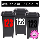 X3 Wheelie Bin House Numbers Stickers Wheely Dustbin Sticker Vinyl