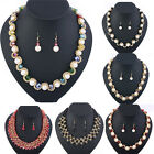 Fashion Crystal Necklace Earring Set Pearl Statement Pendant Choker Jewelry