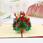 US! Valentine's Day Wedding 3D Pop Up Red Rose Bouquet Flower Greeting Card Gift