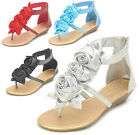 NEW Women's Flower Bow Glitter Ankle Strap Low Wedge Thong Sandals Size 6 7.5 8