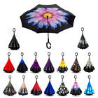 C-Handle Upside Down-Reverse Double Layer Umbrella Windproof Inside-Outside New
