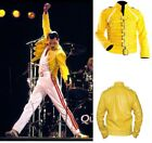 Fashion Freddie Mercury Concert Unisex Biker Yellow Synthetic Leather Jacket