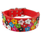 Flower Studded Pet Dog Collar Medium Large 2''Wide PU Leather Adjustable Bulldog
