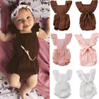 Sleeveless Newborn Baby Girl Summer Ruffle Cotton Romper Jumpsuit Outfit Clothes