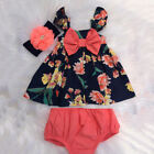 US 2PCS Newborn Baby Girls Flower Bow Tops Dress Shorts Outfits Clothes Summer
