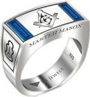 Men's Master Mason 0.925 Sterling Silver Synthetic Sapphire Freemason Ring