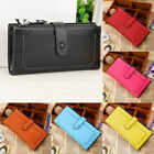 Womens Leather Wallet Card Holder Double Dark Buckle zipper Large Capacity Purse image