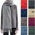 Mens Womens Oversize 100% Cashmere Scotland Wool Blanket Shawl Wrap Solid Scarf